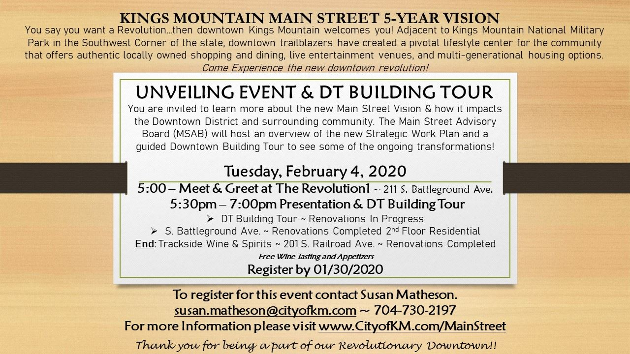 Unveil Event Invitation for New Main Street Vision and 2020 Work Plan